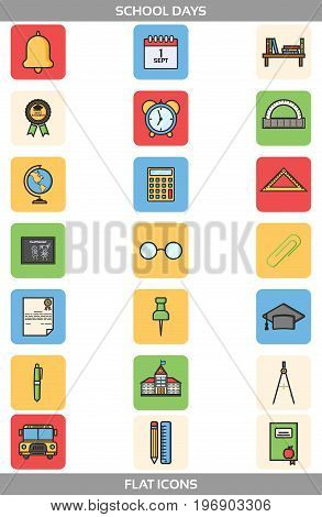 Simple Set ofSchool and Office Vector FlatIcons in square forms. Contains suchIconsasschool building, bell, alarm clock, certificate, paper clip, pen, pencil, ruler, triangle ruler, compasses and more