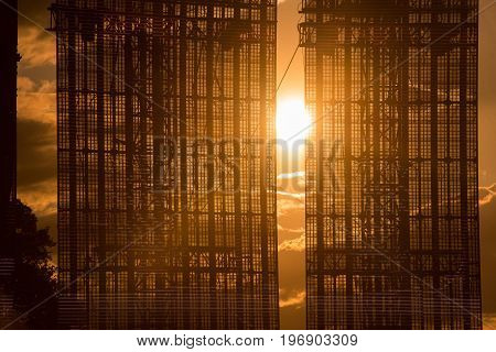Giant stage led screen display in the sunset