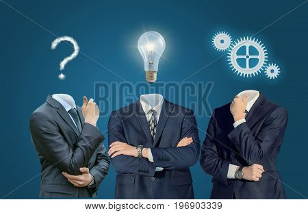 Thinking Businessman From Questions To Ideas .