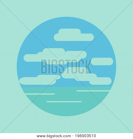 Seascape in the form of a round icon. Waterscape with clouds in the sky in cartoon style for the illustration of the tourist business