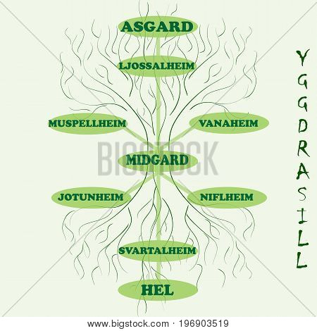 Yggdrasil - vector World tree from Scandinavian mythology. Long branches and deep-reaching roots are symbols of the universe. The Vikings believed that Yggdrasill stores and connects 9 worlds