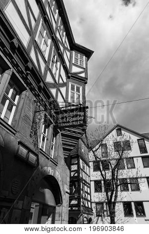 MARBURG GERMANY - APRIL 18 2015: The beautiful building facades of old Marburg. Black and white. Marburg is a university town in the German federal state (Bundesland) of Hessen.