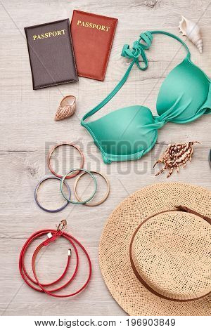 Summer accessories and fashion set. Summer items for rest on seaside abroad.