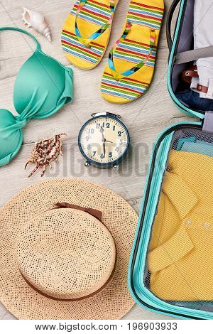 Personal summer things for vacation. Time for summer leisure.