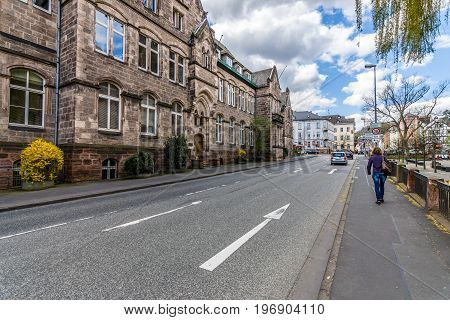 MARBURG GERMANY - APRIL 18 2015: Historic streets of the old quarters of Marburg. Marburg is a university town in the German federal state (Bundesland) of Hessen.