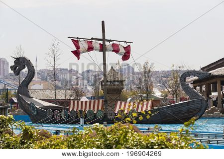 ISTANBUL, TURKEY - 8 APRIL , 2017: Vialand themed entertainment amusement park
