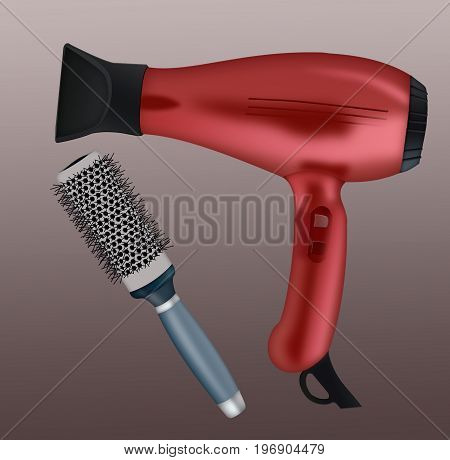 hair dryer and hair comb on a background. 3d