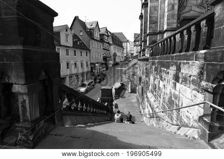 MARBURG GERMANY - APRIL 18 2015: Historic streets of the old quarters of Marburg. Black and white. Marburg is a university town in the German federal state (Bundesland) of Hessen.