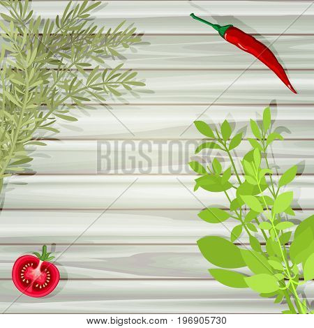 Red vegetables and green aromatic herbs at wooden planked table. Overhead view of sliced tomato, chili pepper, rosemary and basil. Organic food background with space for text. Vector illustration.