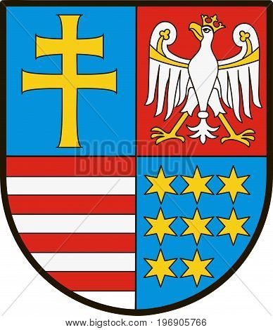 Coat of arms of Swietokrzyskie Voivodeship Swietokrzyskie Province or Holy Cross Province in central Poland. Vector illustration from Giovanni Santi-Mazzini Heraldic 2003