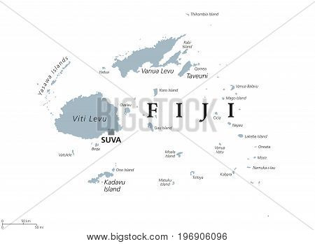 Fiji political map with capital Suva. Republic, archipelago and island country in Melanesia in the South Pacific Ocean. Gray illustration on white background with English labeling. Vector.