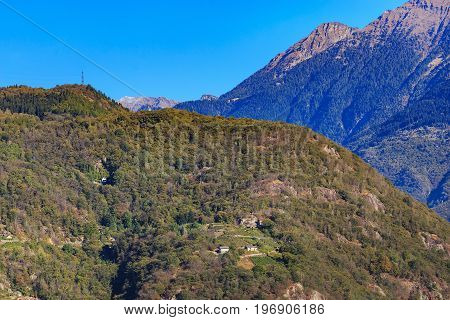 The Alps - view from the city of Bellinzona in the Swiss canton of Ticino at the middle of autumn.