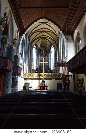 MARBURG GERMANY - APRIL 18 2015: Interior of University Church of Marburg. Medieval Evangelical church in the Gothic style.