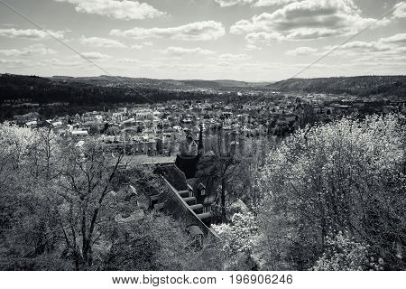 MARBURG GERMANY - APRIL 18 2015: The old districts of the city from the height of the surrounding hills. District Oberstadt. Black and white. Marburg is a university town in the German federal state (Bundesland) of Hessen.