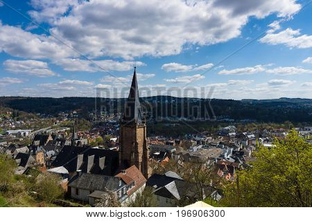 MARBURG GERMANY - APRIL 18 2015: The old districts of the city from the height of the surrounding hills. District Oberstadt. Marburg is a university town in the German federal state (Bundesland) of Hessen.