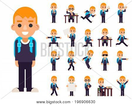 School Boy Student Pupil in Different Poses and Actions Teen Characters Kid Icons Set Education Isolated Knowledge Flat Design Vector Illustration