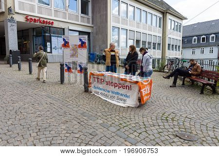 MARBURG GERMANY - APRIL 18 2015: The protest in the historic center of the city against the Transatlantic Trade and Investment Partnership (TTIP).