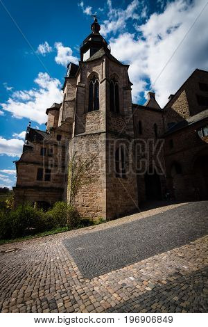 MARBURG GERMANY - APRIL 18 2015: The Marburger Schloss (Marburg castle) is the first residence of Landgraviate of Hesse. Stylization. Toning.