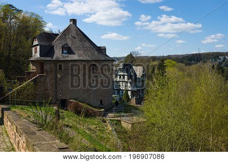 MARBURG GERMANY - APRIL 18 2015: Utility homes in Marburger Schloss (Marburg castle) is the first residence of Landgraviate of Hesse.