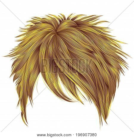 trendy woman short hairs bright yellow colors . fringe . fashion beauty style . realistic 3d .