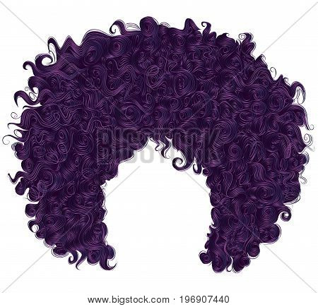 trendy curly purple hair . realistic 3d . spherical hairstyle . fashion beauty style .