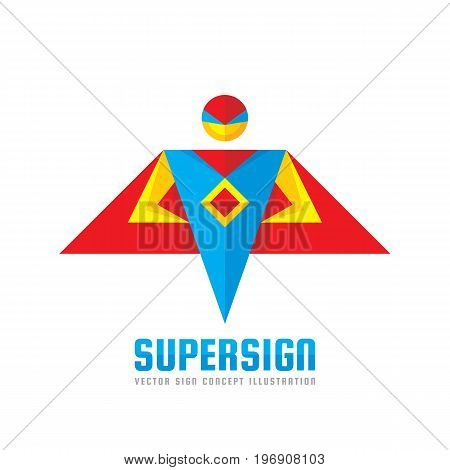 Super sign - vector logo template concept in flat style. People human character. Hero symbol. Super icon. Flying man. Design element.