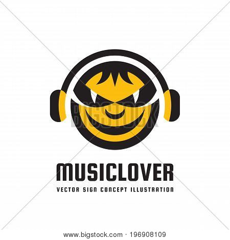 Music lover - vector logo concept illustration in flat style design. Audio mp3 sign. Modern sound icon. Dj symbol. Human head character. Headphones insignia. Record label songs.