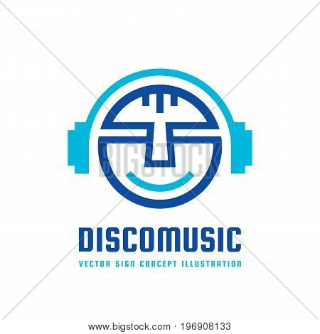 Disco music - vector logo concept illustration in flat style design. Audio mp3 sign. Modern sound icon. Dj symbol. Human head character. Headphones insignia. Record label songs.