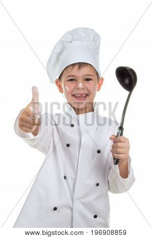 Cute playful little chef with soup ladle on white background.