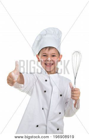 Funny playful little chef with whisk in his hand on white background