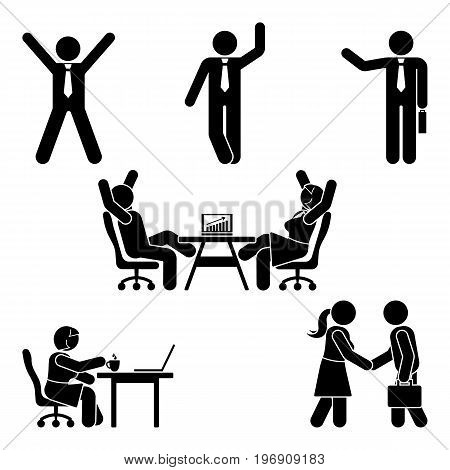 Stick figure office poses set. Business finance workplace support. Working sitting talking meeting training discussing vector pictogram