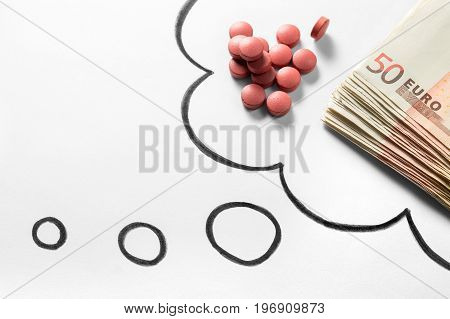 Medical business or prices concept. Thinking about money in pharmaceutical industry or high medical expenses. Also drug dealing, dealer or trade. Drawn thought bubble with pills and money.