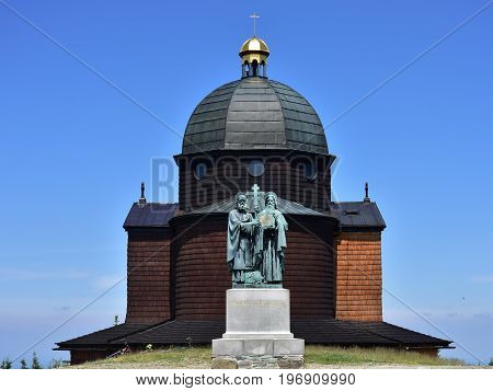 chapel on hill Radhost,Saints Cyril and Methodius sculptural group,Radhost vacation region