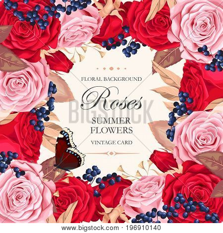 Vector vintage card with varicolored beautiful roses