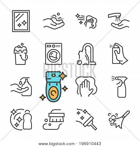 Vector black line Cleaning icons set. Includes such Icons as Clean Surface, Dust, Foam, Detergent. isolated on white background