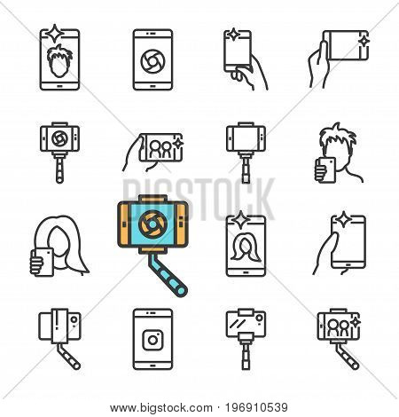 Vector black line Selfie icons set. Includes such Icons as selfie stick, smartphone, front camera, Smartphone in hand. isolated on white background