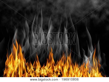 illustration of burning fire. Flame with smoke over black background