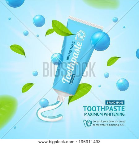 Realistic Whitening Toothpaste Promotion Concept Card and Fly Green Mint Leaves Fresh Flavor. Vector illustration