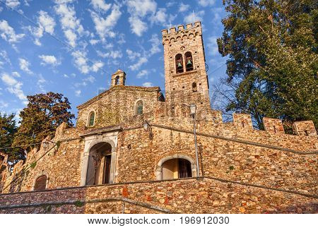 Castagneto Carducci, Leghorn, Tuscany, Italy: ancient church of San Lorenzo in the old town of the village where he lived the italian poet Giosue Carducci