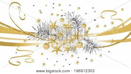 Gold Christmas background with silver needles and stars