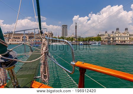 View of the seaport and the city embankment. Barcelona. Spain.