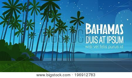 Bahamans Sea Shore Beach After Sunset Beautiful Seaside Landscape Summer Vacation Concept Flat Vector Illustration