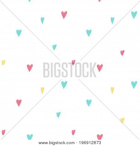 Vector seamless cartoon pattern with hearts. Hand drawn colored love pattern for paper textile handmade decoration scrap-booking polygraphy clothes cards.