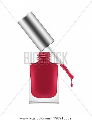 Nail polish realistic. Red bright deep rich classic color for manicure, open with a drop. Beauty and care concept. Vector illustration on white background
