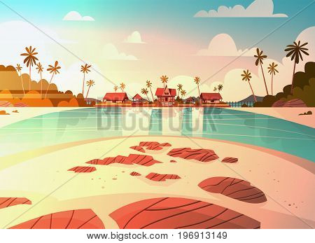 Sea Shore Beach With Villa Hotel Beautiful Sunset Seaside Landscape Summer Vacation Concept Flat Vector Illustration