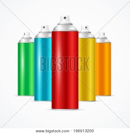 Realistic Aluminium Colorful Spray Can Set Deodorant Container Beauty Cosmetic Aerosol Product. Vector illustration