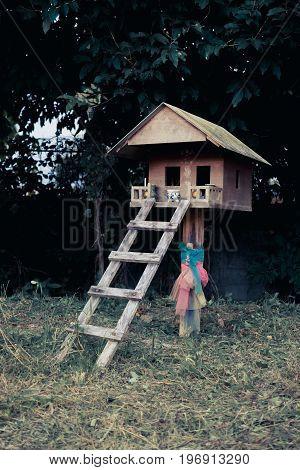 Thriller scene of wooden house in Thailand