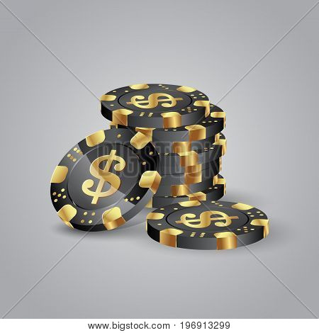 Stack of golden poker chips. Poker chips with a dollar symbol.