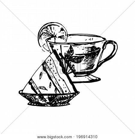 Hand Drawn Sketch of Tea Cup and Delicious Cheesecake. Vintage Sketch. Great for Banner Label Poster