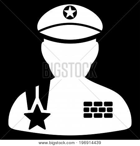 Army General vector pictogram. Style is flat graphic symbol, white color, black background.